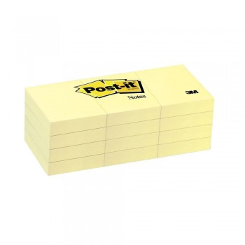 3M 653 Post-It 1.5 inch x2 inch  Yellow 100 Sheets 12 Pad/Pack