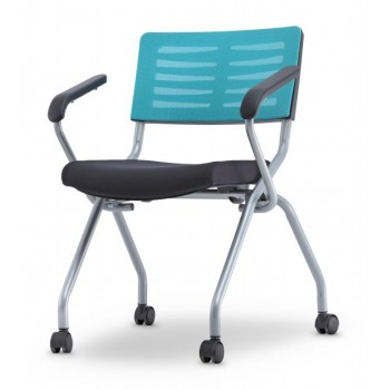 AXIS 2 Series Foldable Training Chair With Castor & Armrest  (Mesh Series)
