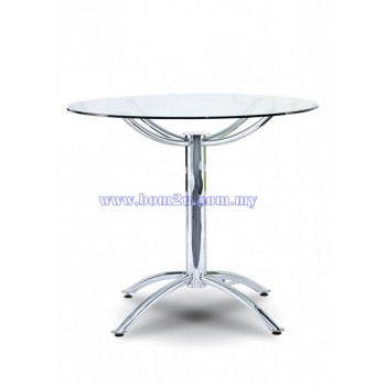 P4 Series Discussion/Pantry Round Glass Table With Chrome Metal Base