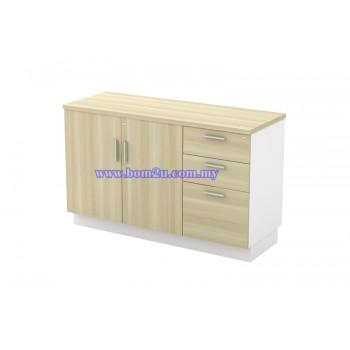 B-YDP 7123 Melamine Woodgrain Swing Door Low Cabinet + 2D1F Fixed Pedestal