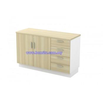 B-YDP 7124 Melamine Woodgrain Swing Door Low Cabinet + 4 Drawer Fixed Pedestal