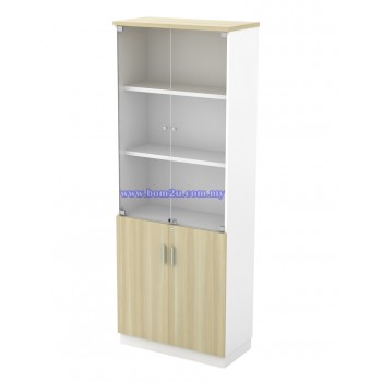 B-YGD 21 Melamine Woodgrain 5 Levels Swinging Glass Door High Cabinet With Lock