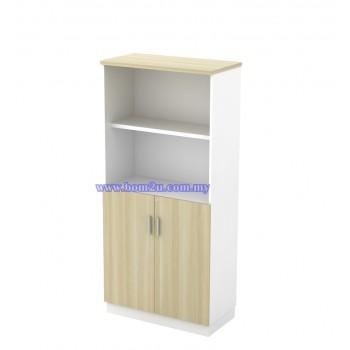 B-YOD 17 Melamine Woodgrain 4 Levels Semi Swinging Door Medium Cabinet With Lock