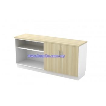 B-YOD Melamine Woodgrain Dual Open Shelf + Swing Door Low Cabinet With Lock
