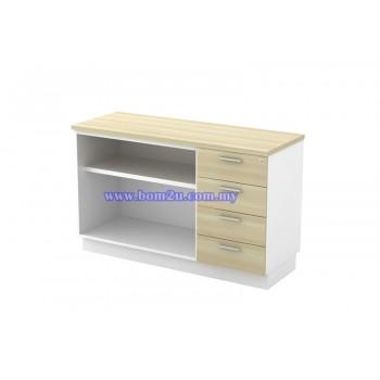 B-YOP 7123 Melamine Woodgrain Open Shelf Low Cabinet + 2D1F Fixed Pedestal