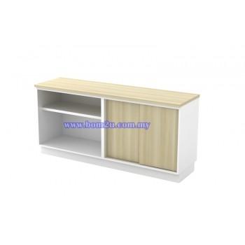 B-YOS Melamine Woodgrain Dual Open Shelf + Sliding Door Low Cabinet With Lock