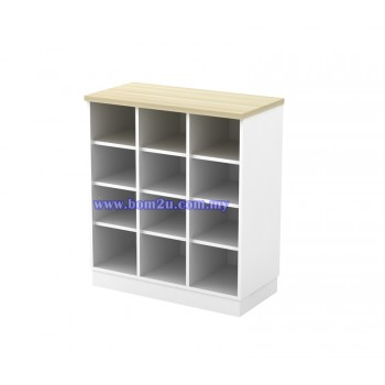 B-YP 9 Melamine Woodgrain Pigeon Hole Low Cabinet