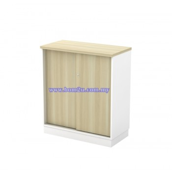B-YS 9 Melamine Woodgrain Sliding Door Low Cabinet With Lock