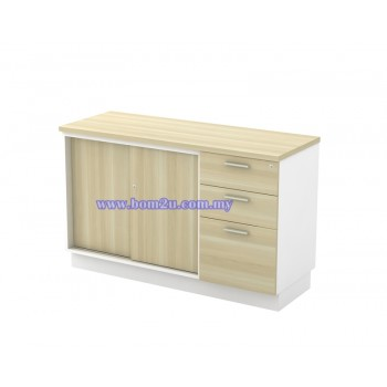 B-YSP 7123 Melamine Woodgrain Sliding Door Low Cabinet + 2D1F Fixed Pedestal