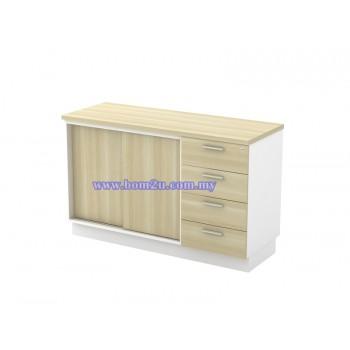 B-YSP 7124 Melamine Woodgrain Sliding Door Low Cabinet + 4 Drawer Fixed Pedestal