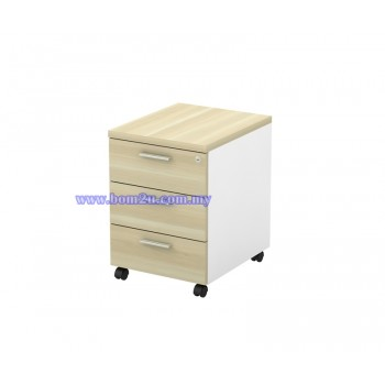 B-YM 3 Malamine Woodgrain 3 Drawer Mobile Pedestal With Lock