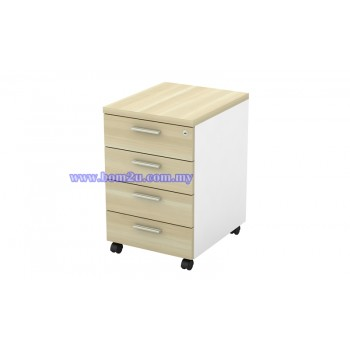 B-YMP 4 Melamine Woodgrain 4 Drawer Mobile Pedestal With Lock