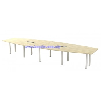 BBC-30/48 Melamine Woodgrain Boat Shape Conference Table With Metal Pole Leg