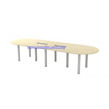 BIC-36 Melamine Woodgrain Oval Shape Conference Table With Metal Pole Leg