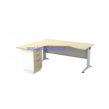 BL-44-3D Melamine Woodgrain 6' Executive L-Shape Writing Table With Curve