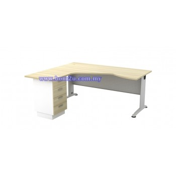 BL-44-4D Melamine Woodgrain 6' Executive L-Shape Writing Table With Curve