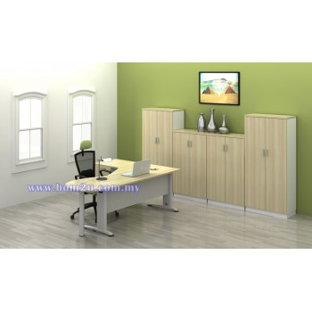 [BL 44-4D-SET] Melamine Woodgrain 6' Executive L-Shape Writing Table Set