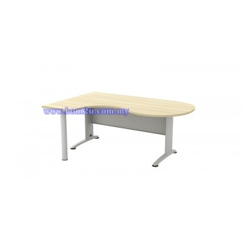 BL-66-M Melamine Woodgrain 6' Executive P-Shape Writing Table With Curve