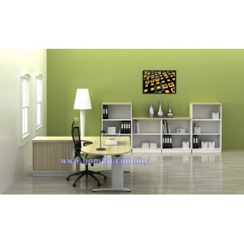 [BMB 66-SET] Melamine Woodgrain 6' P-Shape Executive Table Set