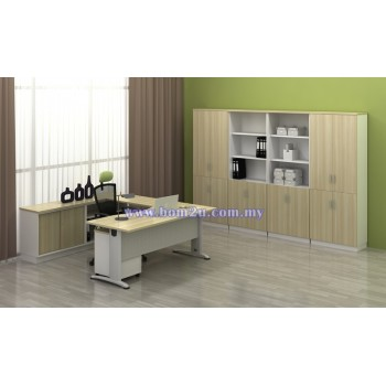 [BMB 11-SET] Melamine Woodgrain 6' Curve Executive Table Set