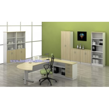 [BMB 180A-SET] Melamine Woodgrain 6' D-Shape Executive Table Set