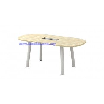 B-Series Melamine Woodgrain Oval Shape Conference Table With Metal Pole Leg
