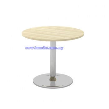 B-Series Melamine Woodgrain Round Conference Table With Chromed Drum Leg