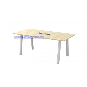 B-Series Melamine Woodgrain Rectangular Shape Conference Table With Metal Pole Leg