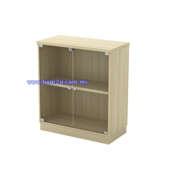 Q-YG 9 Fully Woodgrain Swinging GLass Door Low Cabinet With Lock