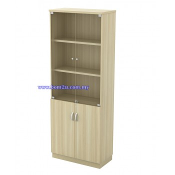 Q-YGD 21 Fully Woodgrain 5 Levels Swinging Glass Door High Cabinet With Lock
