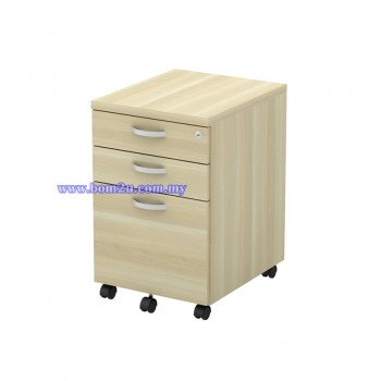 Q-YMP 3 Fully Woodgrain 2D+1F Mobile Pedestal With Lock