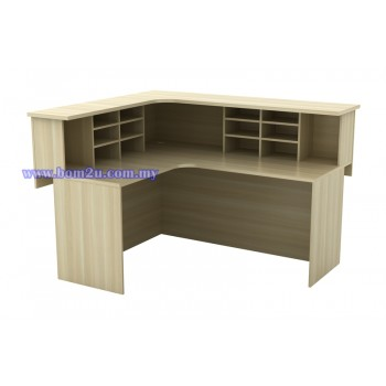 EXCT 1715 Fully Woodgrain L-Shape Executive Reception Counter