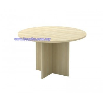 EX Series Fully Woodgrain Round Conference Table With Wooden Leg