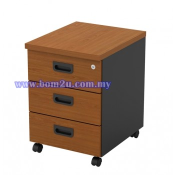 GM 3 Melamine Woodgrain 3 Drawer Mobile Pedestal With Lock