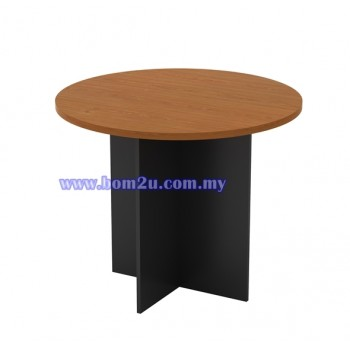 G-Series Melamine Woodgrain Round Conference Table With Wooden Leg
