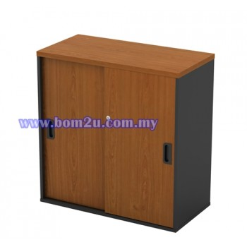 GS 880 Melamine Woodgrain Low Sliding Door Cabinet With Lock