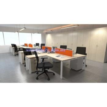 Cluster Of 4 L-Shape Desking Workstation With Metal U-Leg & Side Table