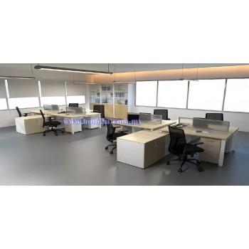 Cluster Of 4 L-Shape Desking Workstation With Metal U-Leg & Side Cabinet