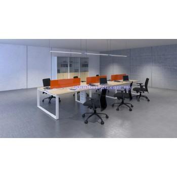 Cluster Of 6 Rectangular Desking Workstation With Metal O-Leg