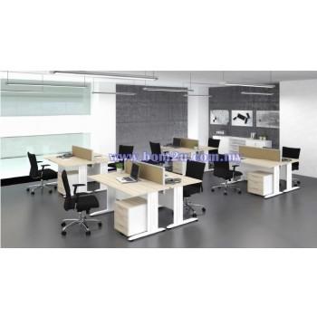 Cluster Of 2 Rectangular Desking Workstation With Metal I-Leg