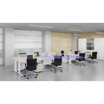Cluster Of 4 Rectangular Desking Workstation With Metal I-Leg