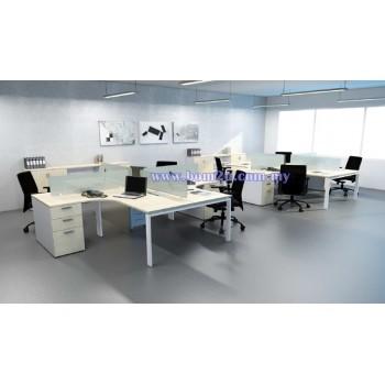 Cluster Of 4 L-Shape Desking Workstation With Metal U-Leg