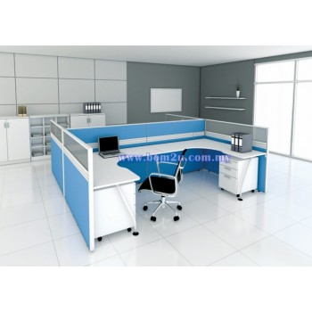 Cluster Of 4 Seater Workstation With Mono Leg (L-Shape)
