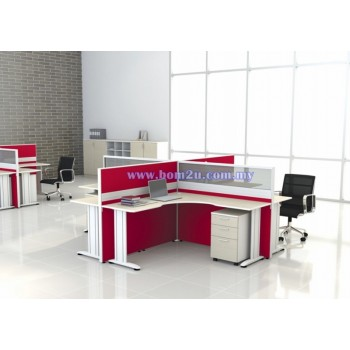 Cluster Of 4 Seater Workstation With I-Leg (L-Shape)