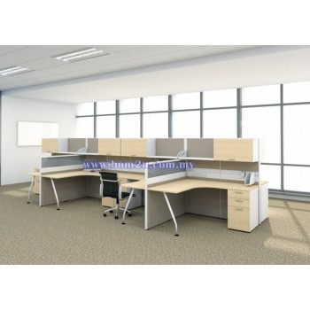 Cluster Of 4 Seater Workstation With Hanging Shelf & Cabinet (L-shape)