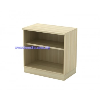 Q-OO 775/975 Fully Woodgrain Table Height Open Shelf Low Cabinet