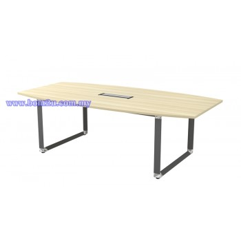 OBB 18/24 Melamine Woodgrain Boat Shape Conference Table With O-Leg