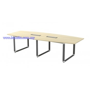 OBB 30/36 Melamine Woodgrain Boat Shape Conference Table With O-Leg