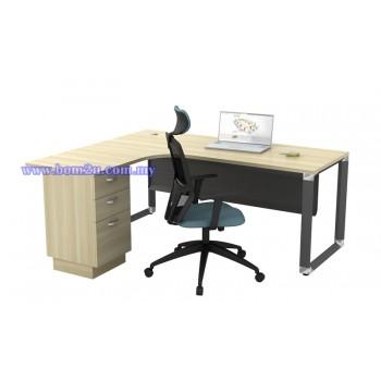 O-Series 552/652-3D Melamine Woodgrain L-shape Superior Compact Table