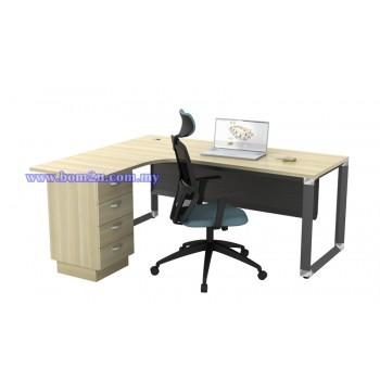 O-Series 552/652-4D Melamine Woodgrain L-shape Superior Compact Table
